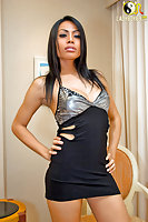 Luscious Asian ladyboy Bibi in a short dress