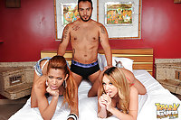 One horny guy for two hot tgirls