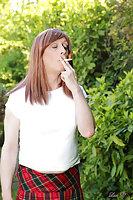 Lucy smokes & strips panties