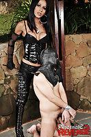 Shemale in black riding slave
