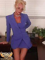 Blonde Shemale With Tan Lines Undressing In Office