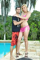Shemale Kissing & Blowjob By Pool Outdoor