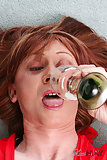 Redhead Tranny Swallowing Cum