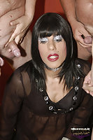 Dark Haired Tranny Sucks Dicks & Facial In MMF