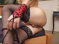 Posh Tart In Stockings Assfucking Guy On Bed