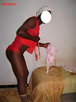 Ebony CD in red lingerie
