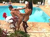 Seductive busty tranny fucks sweet lover near pool