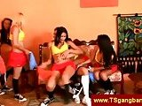 Transsexuals invite a boy to gangbang
