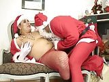 Santa clause dude get hard fucked by a shemale cock