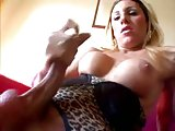 Titty blonde stroking her big dick