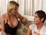 Busty blonde bonking cute boy