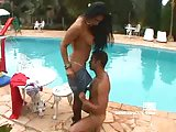 Latina deep penetration near the pool