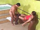 Latina Tgirl drills a guy after a bath