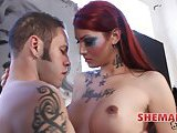 Beautiful redhead shemale rides with a delight