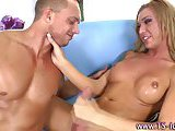 Hot tranny blonde hoe gets a cumshot