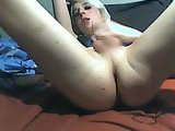 Petite blonde sucks and inserts a hairbrush  in her ass