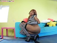 Gorgeous tgirl in striped clothes