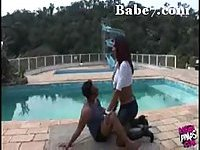 Redhead shemale gets satisfaction outdoor