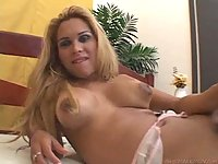 Busty trannies share one stud