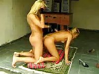 2 sexy blonde trannies in hot action