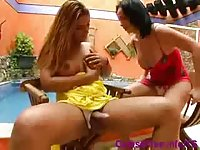 2 hot Tgirls fucking each other poolside
