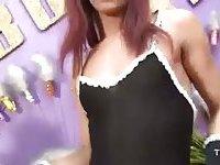Redhead sexy TS maid