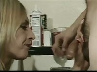 Blonde tranny licking his ass