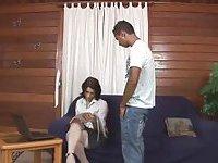 Sexy tranny in white drills her boyfriend