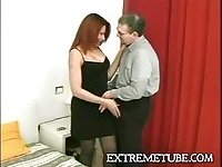 Redhead tranny chick blows after fucking