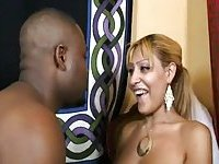 Cute blonde with small cock gets fucked by ebony mate