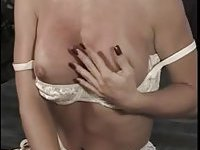 Luxery blonde TS in white lingerie solo