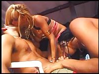 Blonde tranny piledriving ebony shemale