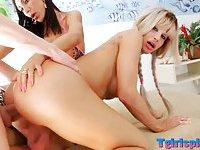 Horny shemales Jhenifer and Sabrina 3way