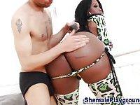 Ebony big tits tranny gets rimmed