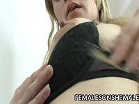 Blonde shemale Yanina fucks female