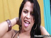 Sexy Alessandra Ribeiro strokes hard cock