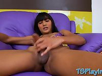 Tight shemale Emmy handjob her hard dick