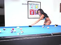 Busty latina toys by pool table