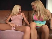 Busty blonde girl pleases a tranny