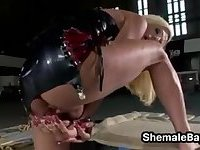 Blonde Shemale In A Warehouse