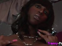 Busty black tranny babe blown