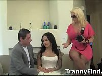 Guy sucks tranny