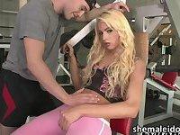 Tranny girl Dany De Castro hardcore threesome sex at the gym