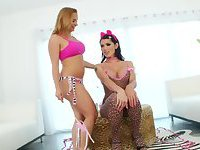 Kitty tranny Eva Lin is playing kinky with busty chick Katja
