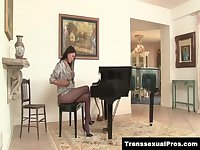 TS Jamie Page teases in pantyhose