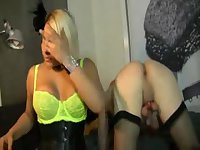 Crazy Tgirls in hot interracial threesome