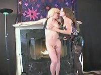 Corseted girl dominates a blonde tranny