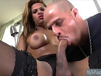 Busty tranny let the man suck her dick
