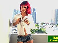 TS ginger Michelle cock play on balcony