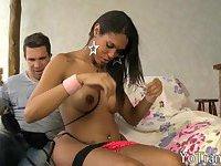 Big tits shemale Bruna Angel anal nailed